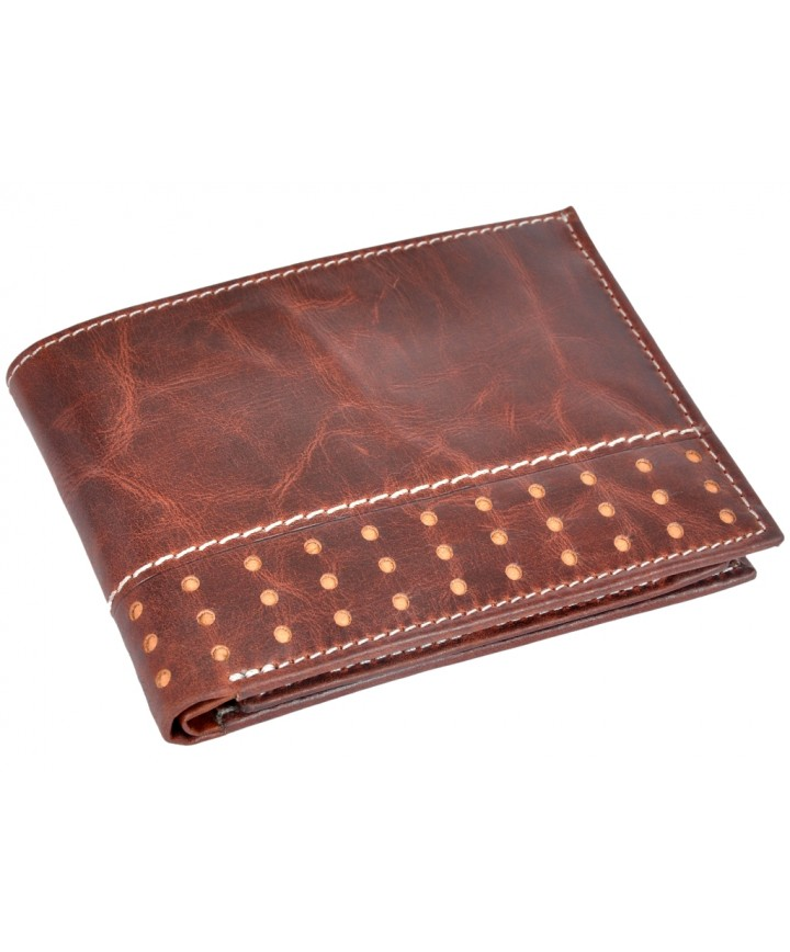 65a10fb4f23 OHM Leather New York Wallet with Broguing Original Hand Made Leather ...