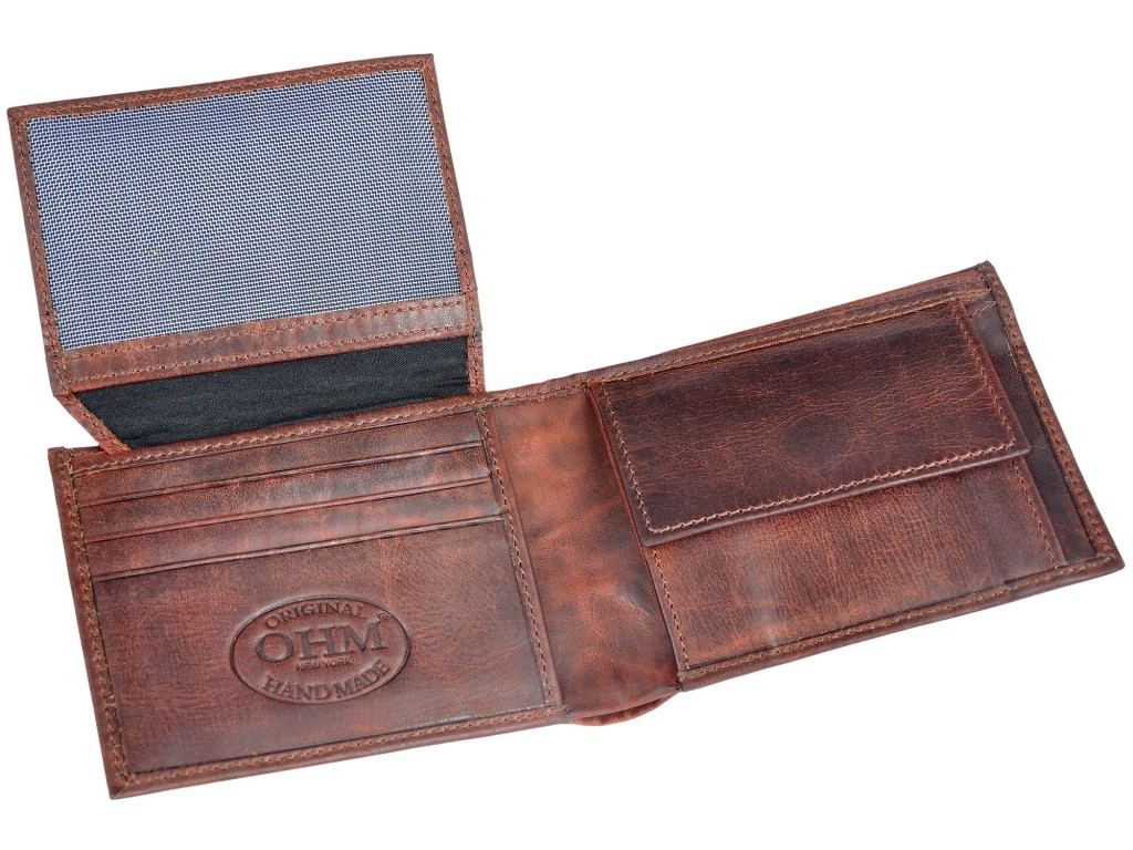OHM Leather New York Front ID Window with Coin Slot Wallet
